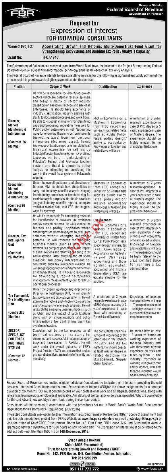 Director Marketing Jobs in Federal Board of Revenue FBR
