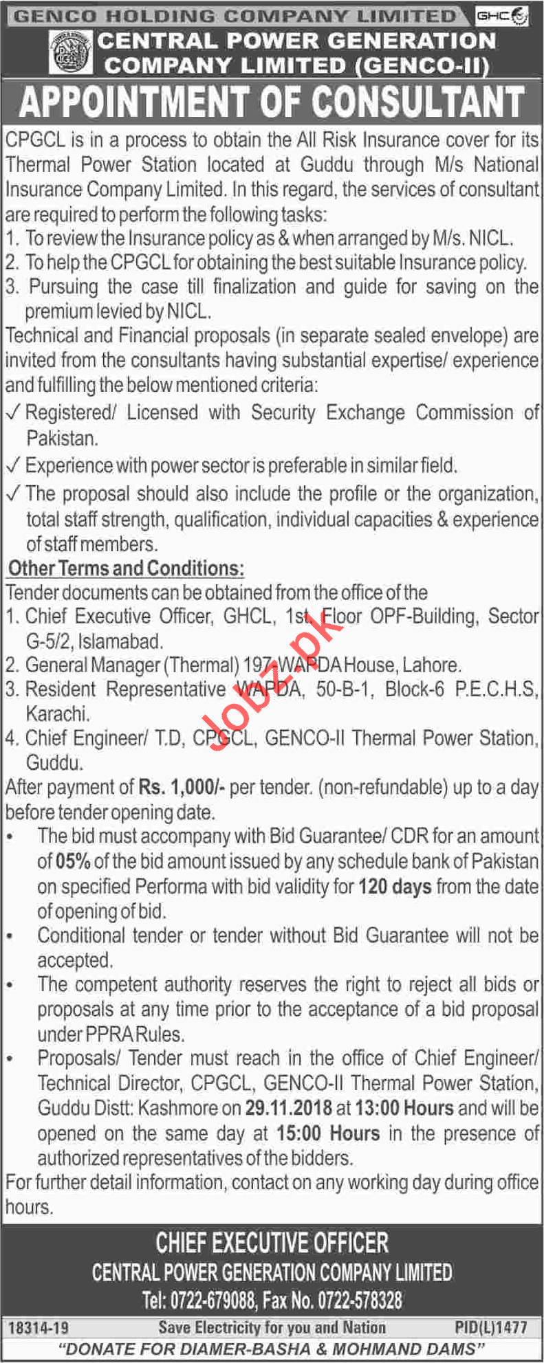 GENCO Holding Company Limited GHCL Consultant Job 2018