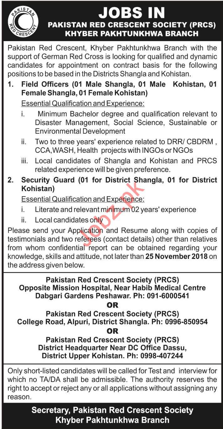 Pakistan Red Crescent Society PRCS KPK NGO Jobs 2018