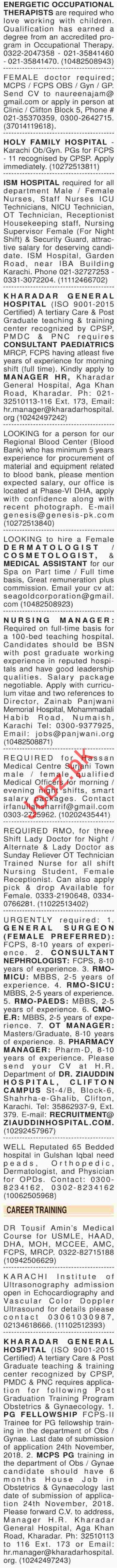 Dawn Sunday Newspaper Classified Medical Ads 2018