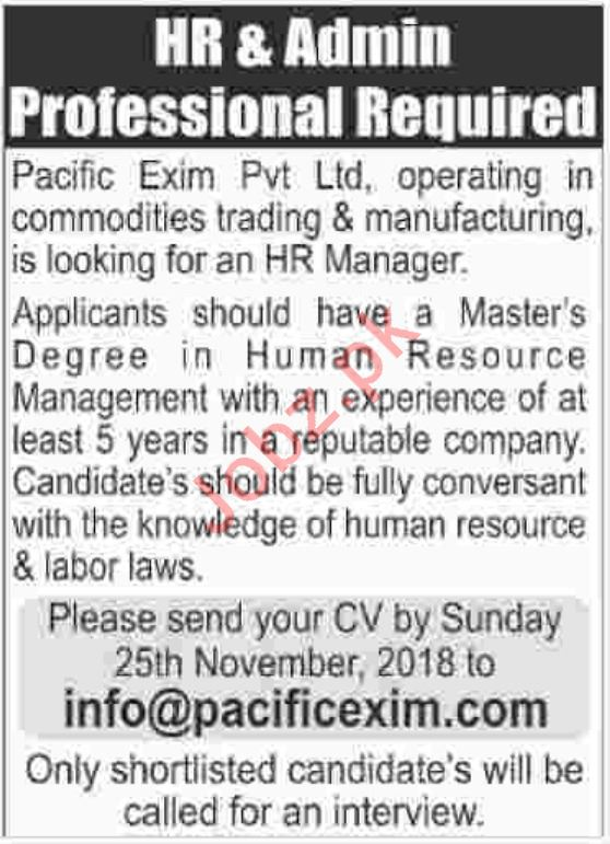 Pacific Exim Private Limited HR and Admin Staff Jobs