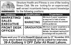 Marketing Executive Jobs in Structure Health & Fitness Club