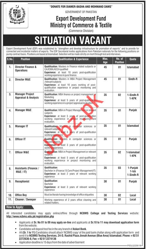 Export Development Fund Commerce Division Jobs 2018
