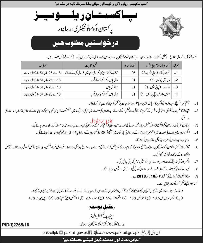 Pakistan Railway Pakistan Locomoto Factory Risalpur Jobs