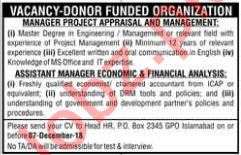 Manager Project Appraisal and Management Jobs at NGO