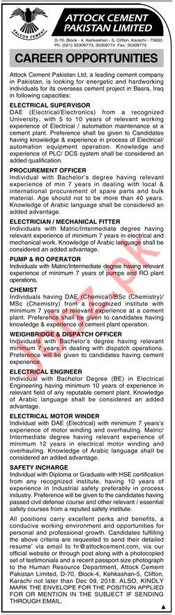 Attock Cement Pakistan Limited Jobs 2018 in Karachi