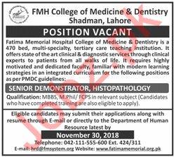 FMH College of Medicine & Dentistry Demonstrator Jobs