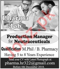Production Manager Jobs at Pharma Industry