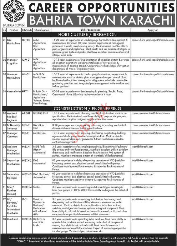 Bahria Town Karachi GM Hortoculture Jobs 2018