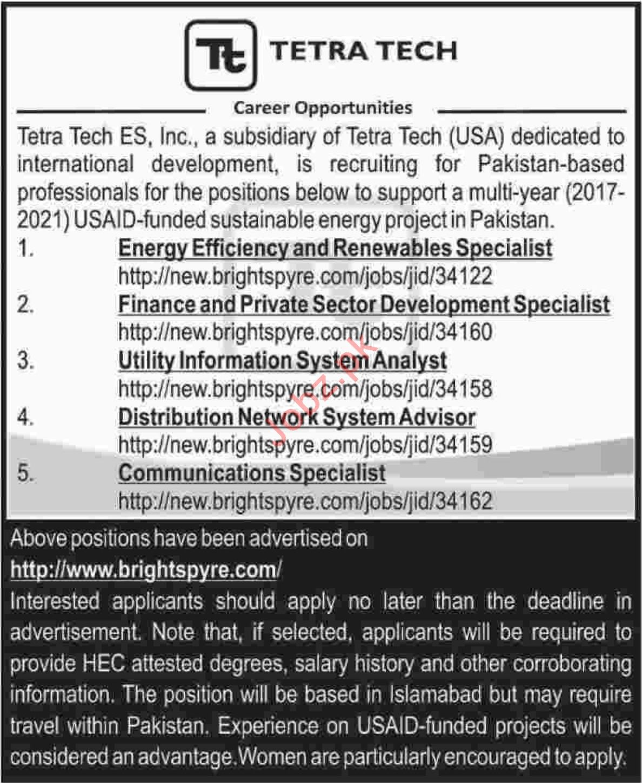 Tetra Tech ES Energy Efficiency and Renewable Specialist Job