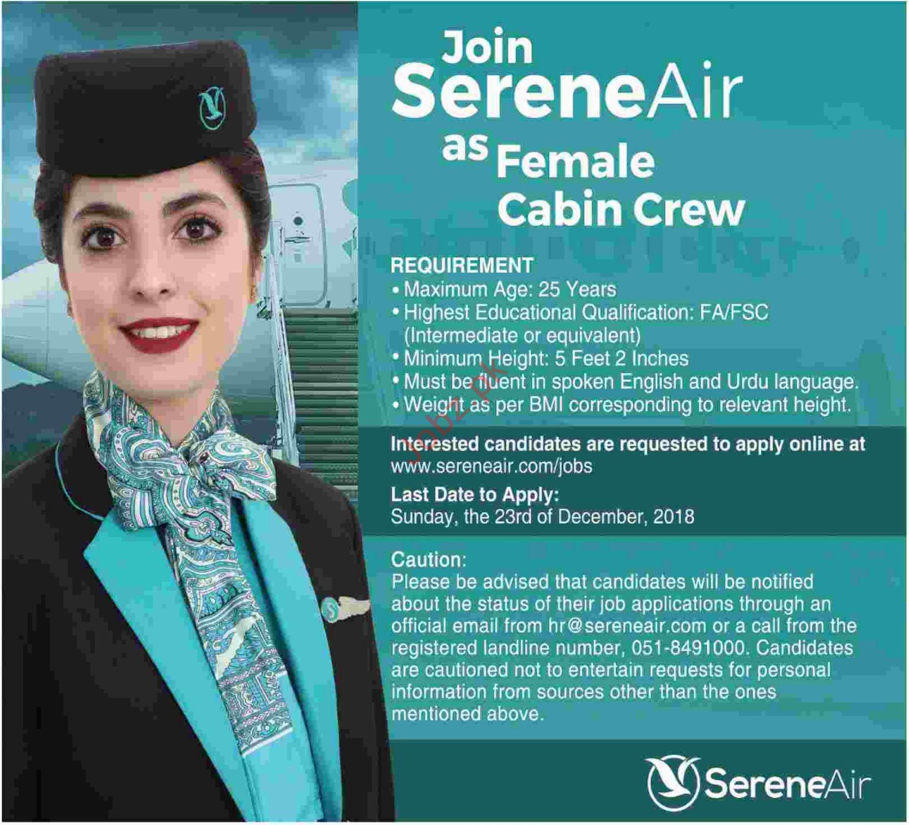 Join Serene Air as Female Cabin Crew