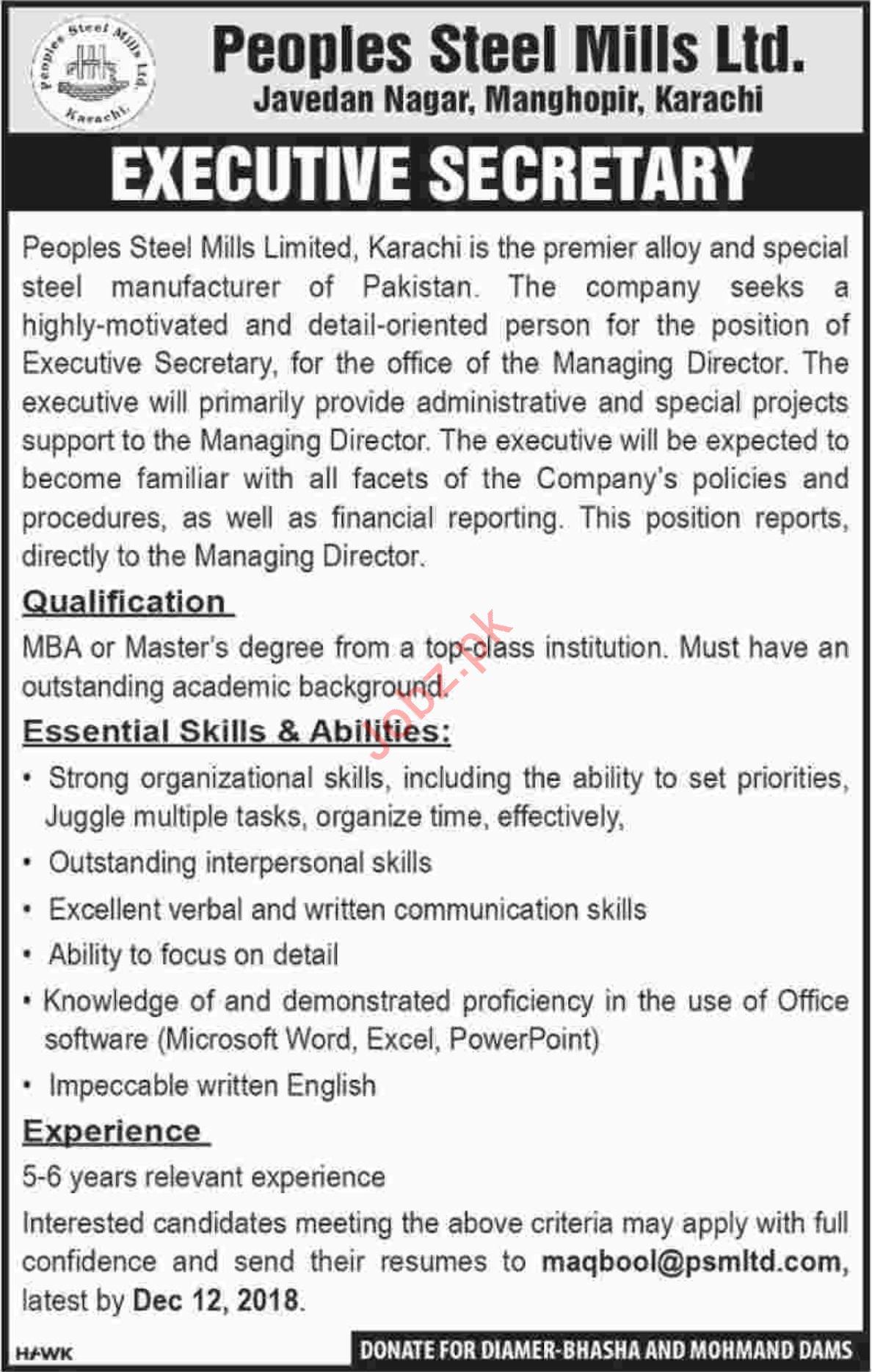 Peoples Steel Mills Limited Executive Secretary Jobs