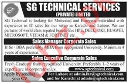 SG Technical Services Pvt Ltd Sales Jobs 2018