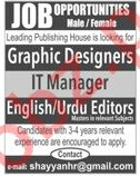 Graphic Designers, IT Manager & Editors Jobs 2018