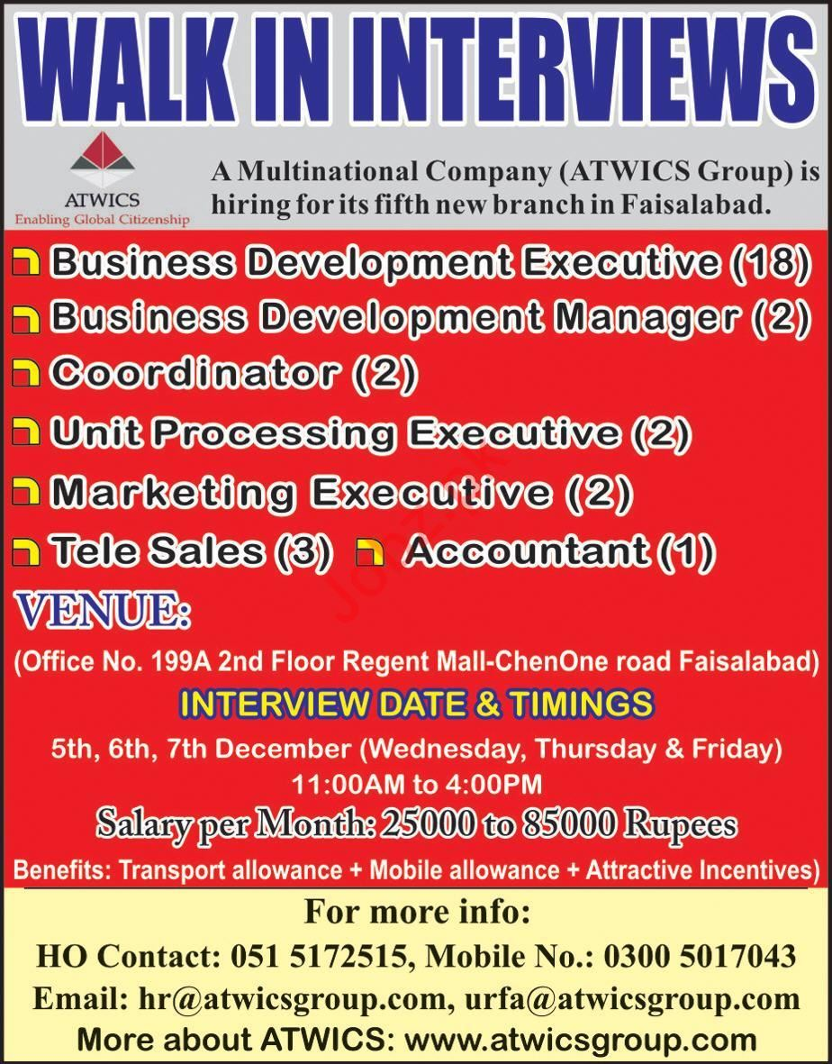 ATWICS Group Walk In Interviews 2019