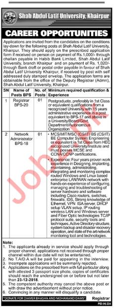 Registrar & Network Administrator Jobs 2019 in Khairpur