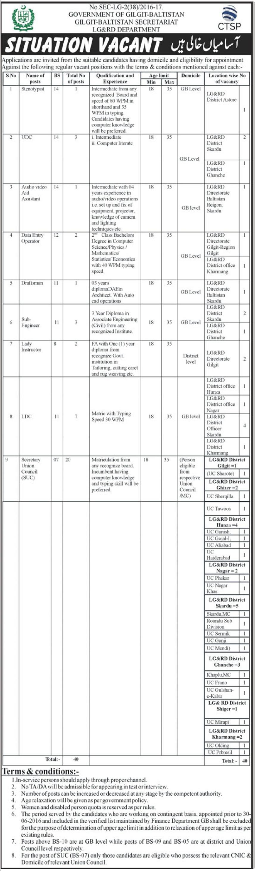 LG&RD Department Gilgit Jobs 2019 for Secretary, UDC & LDC