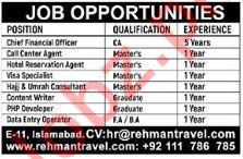 Rehman Travel Pvt Ltd Jobs 2019 in Islamabad