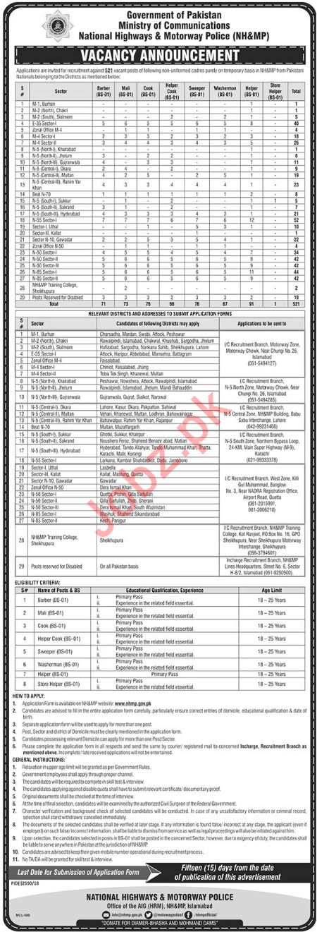 National Highway and Motorway Police NH&MP Jobs 2019