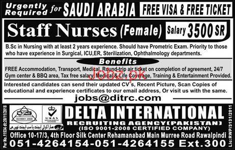 Female Staff Nurses Job in Saudi Arabia