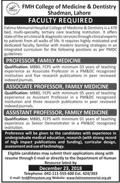 FMH College of Medicine & Dentistry Professor 2019 Jobs
