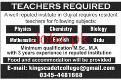 Male / Female Teachers Job in Kings Cadet College