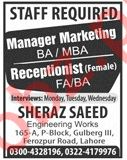 Manager Marketing & Female Receptionist Jobs 2019
