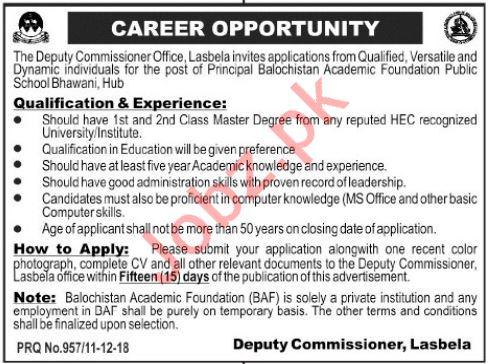 Balochistan Academic Foundation Public School Hub Jobs 2019