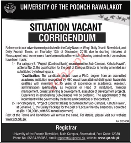 University of The Poonch Campus Director Jobs 2019