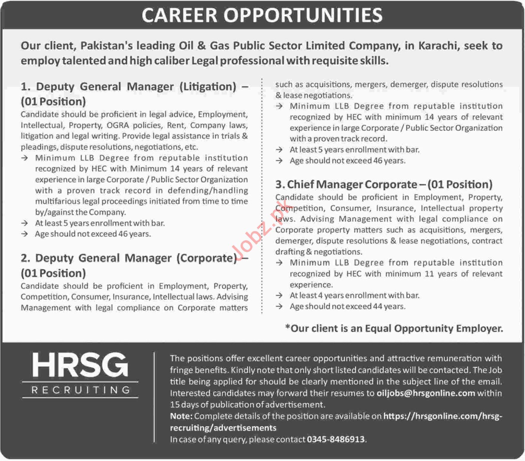 Deputy General Manager Litigation Jobs at HRSG
