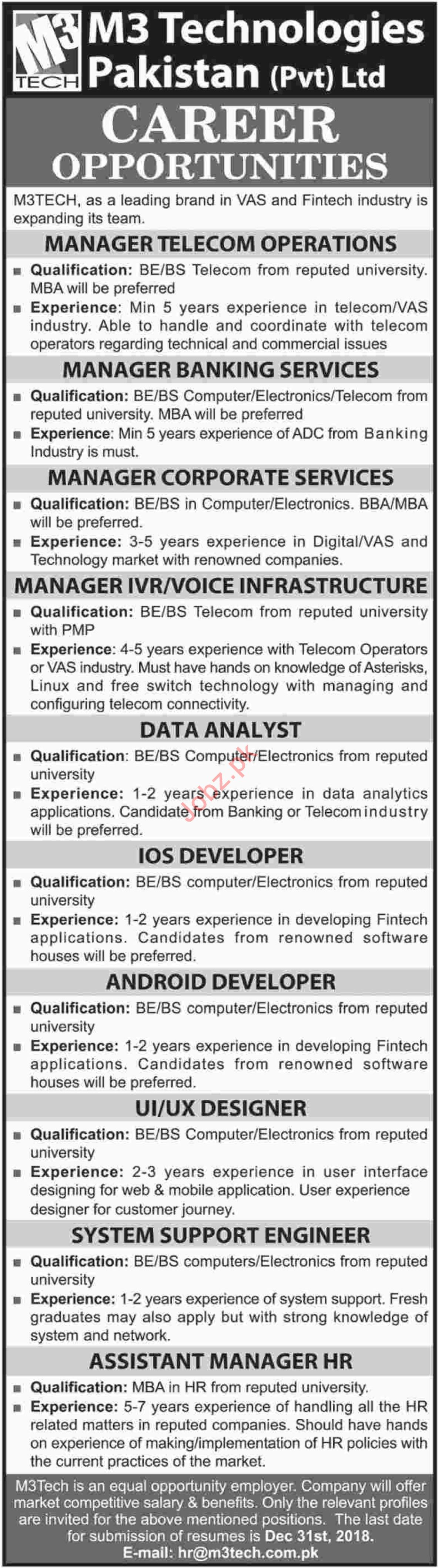 M3 Technologies Pakistan Ltd Manager Telecom Operations Jobs