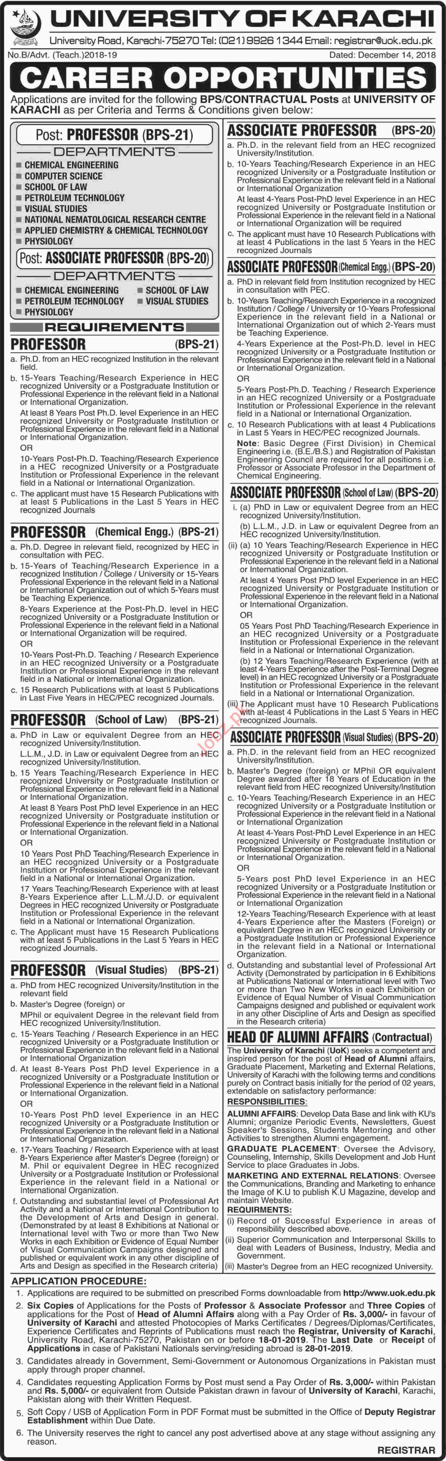 University of Karachi Professor Chemical Engineering Jobs