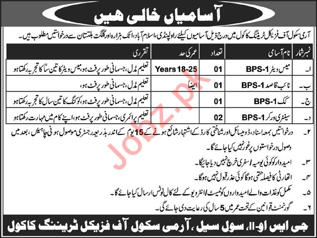 Army School of Physical Training Mess Waiter Jobs