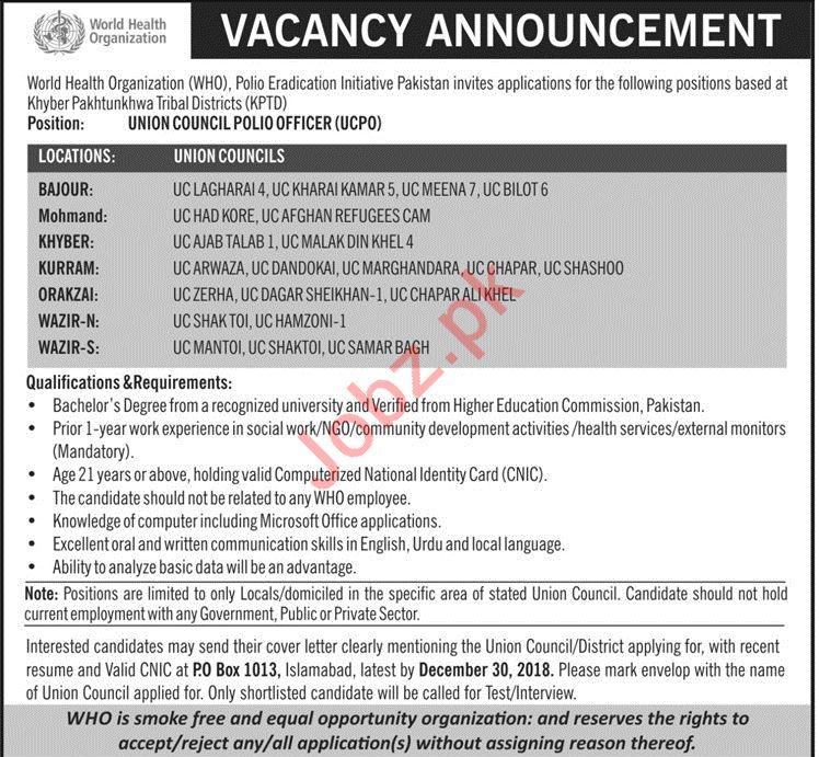 World Health Organization WHO FATA NGO Jobs 2019