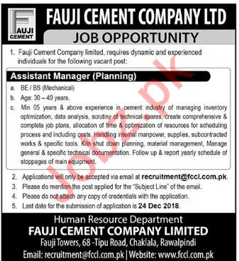 Fauji Cement Company Ltd Assistant Manager Planning Jobs