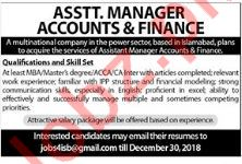 Assistant Manager Accounts and Finance Jobs