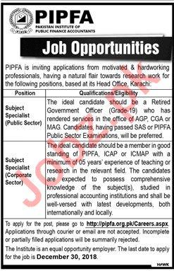 PIPFA Karachi Jobs 2019 for Subject Specialists