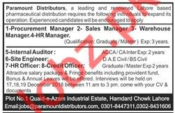 Paramount Distributors Jobs 2019 in Lahore