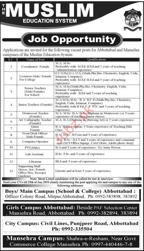 The Muslim Education System Lecturer Jobs 2019