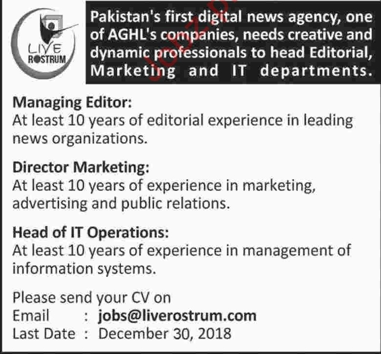 Live Rostrum News Agency Managing Editor Jobs