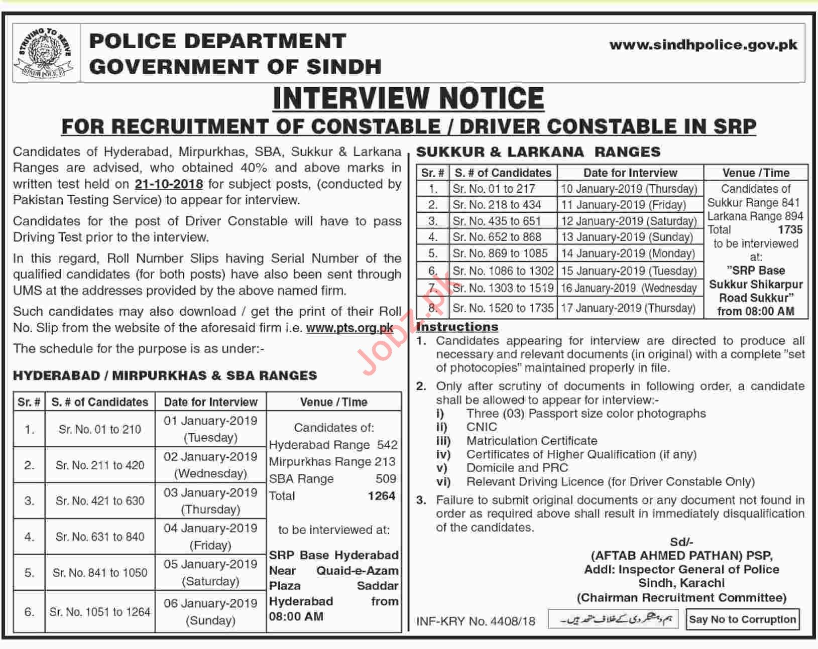 Interview Notice at Sindh Police for Driver Jobs
