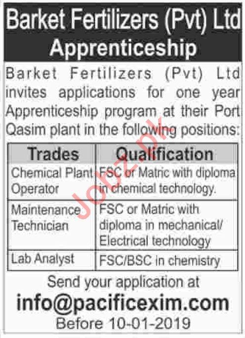 Barket Fertilizers Pvt Ltd Jobs for Chemical Plant Operator