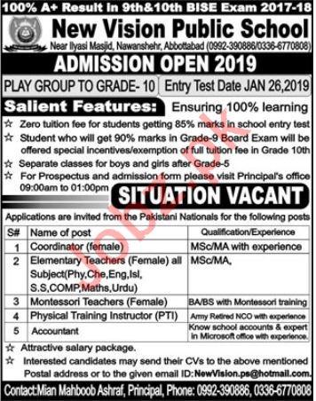 New Vision Public School Jobs 2019 in Abbottabad KPK