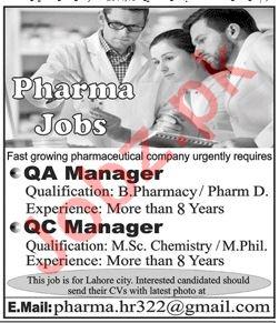 QA Manager Jobs at Pharma Industry