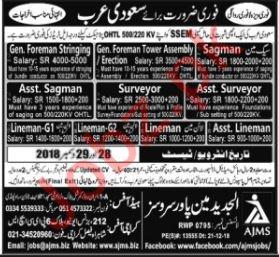 Foreman Stringing, Asst Surveyor, Surveyor, Asst Sagman Jobs