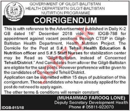Health Department Gilgit Baltistan Jobs Nutrition Officer
