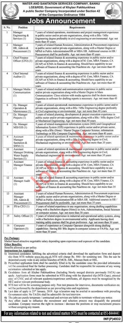 WSSC Bannu Jobs 2019 for Managers & Finance Officer