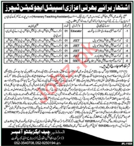 Honorary Teaching Assistant Jobs 2019 in Sialkot