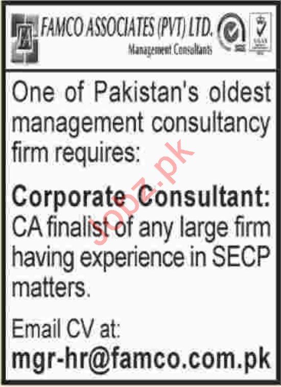 FAMCO Associates Pvt Ltd Corporate Consultant Jobs