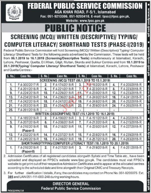 Federal Public Service Commission FPSC Test 2019